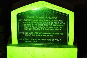 Указатель: Железная дорога Восточного побережья проходит над пещерами Борра