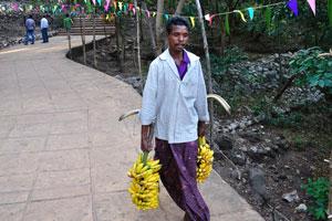 Мужчина несёт бананы