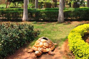 Искусственная черепаха под королевскими пальмами