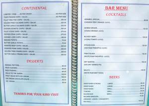 Меню Рисовой Чаши, стр. 5 - континентальная еда, десерты, коктейли, пиво