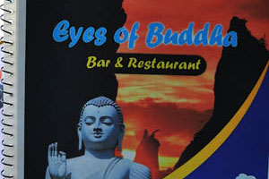 Бар и ресторан Глаза Будды, передняя обложка меню
