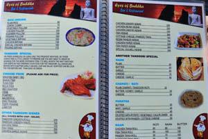 Меню ресторана Глаза Будды, стр. 3 - рис, блюда тандури, нан, чапати, парата