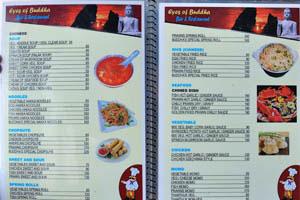 Меню ресторана Глаза Будды, стр. 4 - суп, лапша, блинчики с начинкой, морепродукты, курица