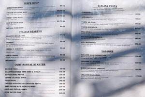Меню кафе Суши, стр. 3 - итальянская закуска, итальянские макароны, лазанья
