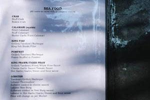 Кафе Суши - последняя страница меню - морепродукты