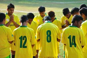 Футбольный стадион Др. Густаво Монтейро, молитва команды перед футбольным матчем