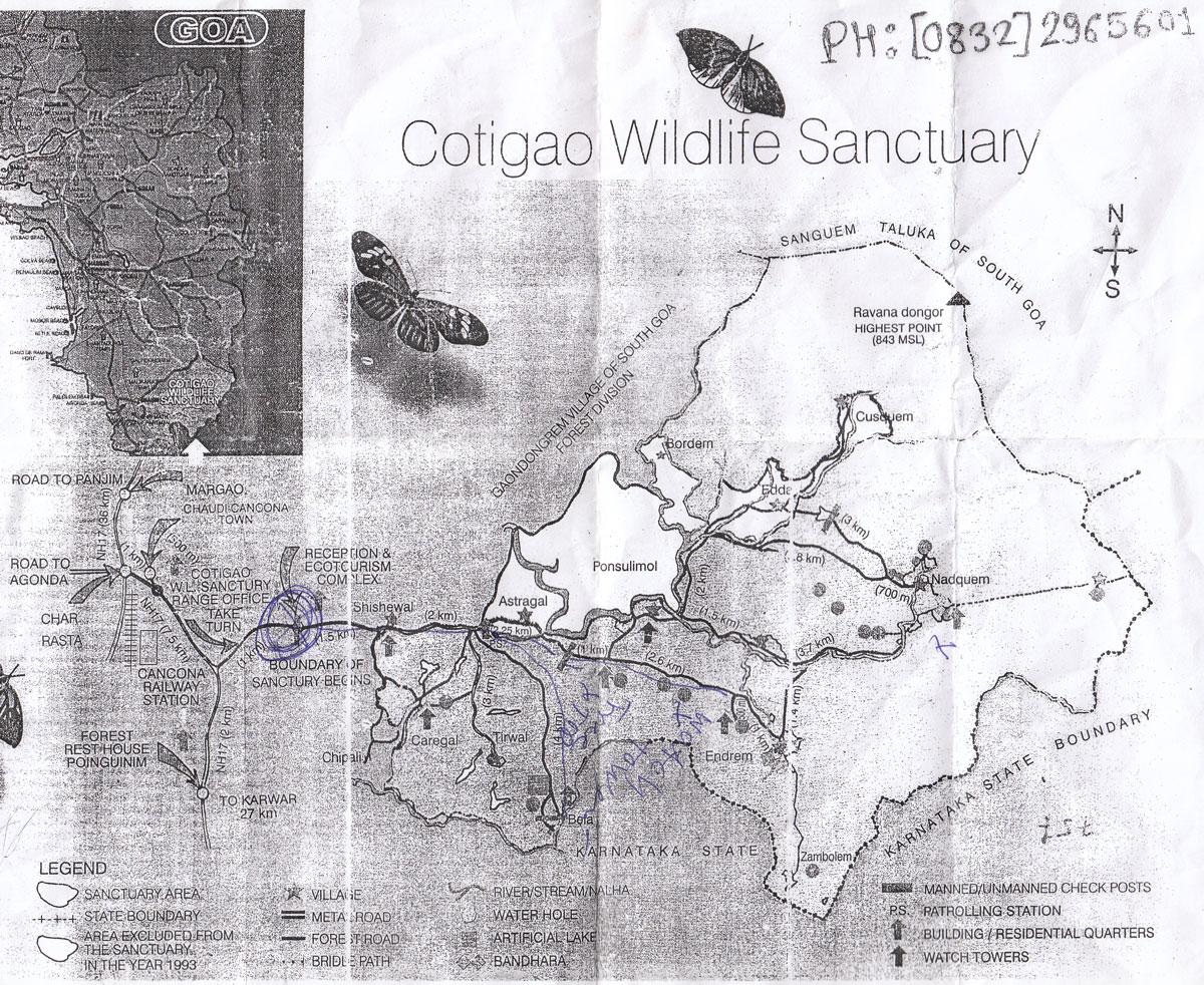 Карта заповедника Котигао