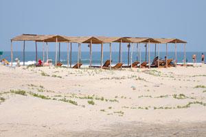 Пляжные шезлонги под соломенными крышами