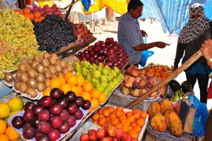 Новый рынок: красные яблоки, зелёные груши, кремовые яблоки и оранжевые папайи