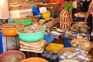 Рыбный рынок: рыба и креветки
