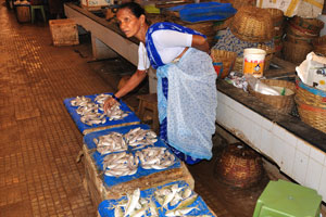 Рыбный рынок: продавщица рыбы