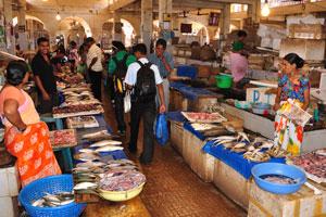 Рыбный рынок: все люди уходят с рынка с полными пакетами рыбы