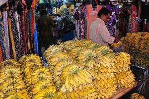 Новый рынок: огромные кучи бананов