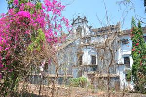 Вид на монастырь святой Моники сквозь розовые цветы