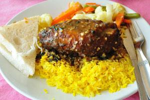Бар и ресторан Пресли: курица с овощами и рисом