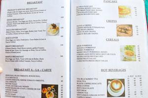 Меню бара и ресторана Пресли: завтрак