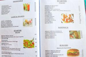 Меню бара и ресторана Пресли: коктейли и закуски