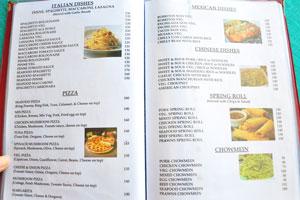 Меню бара и ресторана Пресли: блюда итальянской кухни и блинчики с начинкой