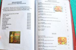 Меню бара и ресторана Пресли: тайская кухня
