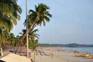 Вид со спасательной башни на южную часть пляжа