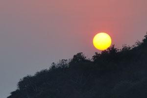 Жёлтый закат на фиолетовом небе