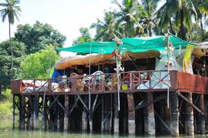 Ресторан был построен на деревянных сваях