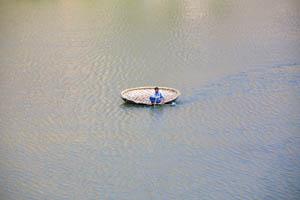 Круглая лодка (челнок) на реке Тунгабхадра