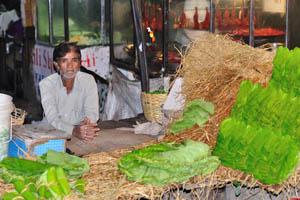 Уличный торговец продаёт зелёные листья