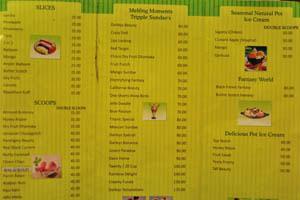 Цены в кафе мороженого возле Чарминара