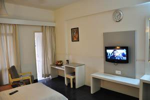 Отель Mandakini Jaya International, светлая комната с телевизором