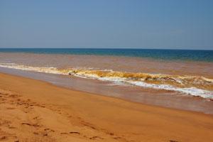 Пляжный песок возле Тривандрума имеет уникальный оранжевый цвет