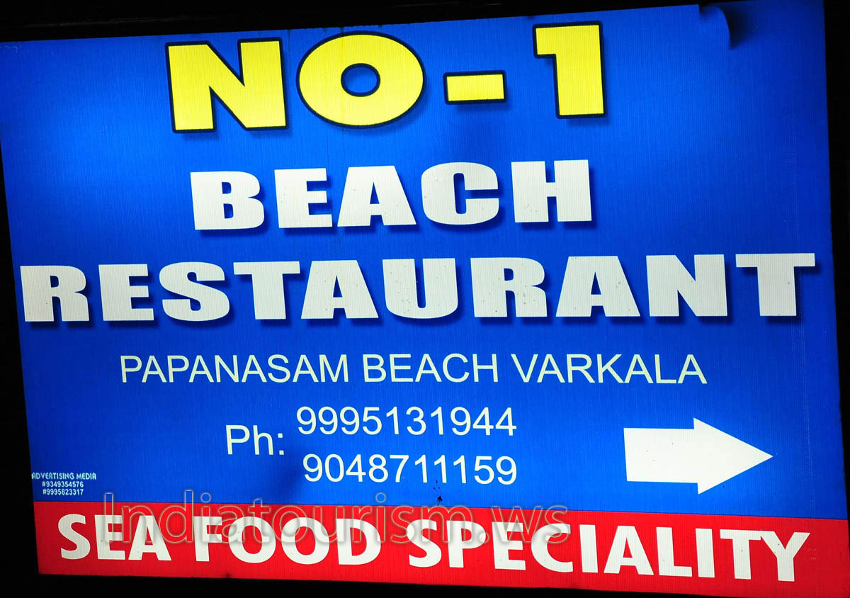 No 1 beach restaurant papanasam beach varkala