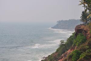 Вид на пляж Варкала с юга