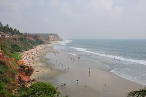Вид на пляж Варкала с севера