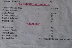 Меню ресторана «Мама Чомпос»: рыба, карри, жареные рыба и кальмары, сиззлеры