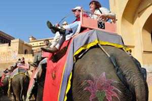 Прогулка на слонах по мощёному пути в форт