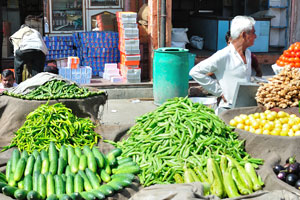 Зелёный перец, огурцы и баклажаны