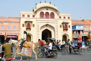 Украшенная лошадь возле ворот Триполиа. Ворота Триполиа ведут к Джантар Мантар, но эти ворота закрыты для общественности