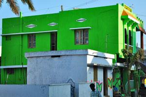 Ярко-зелёный дом