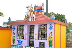 Небольшой дом с многочисленными статуэтками